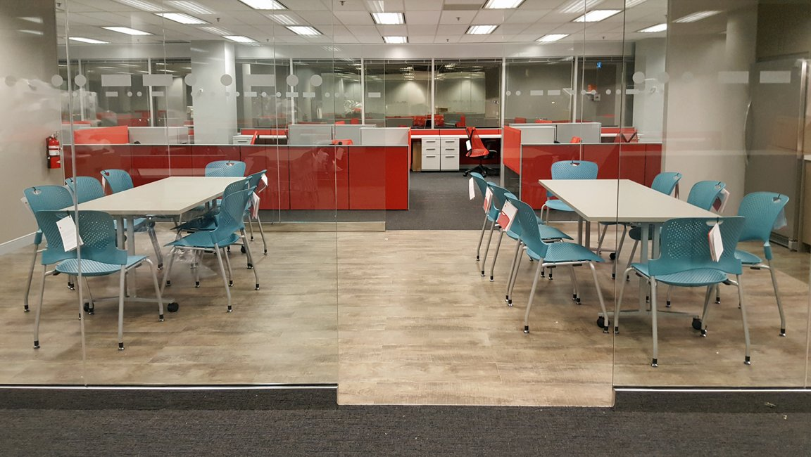 Lunch room with Herman Miller Caper Chairs and Everywhere Tables
